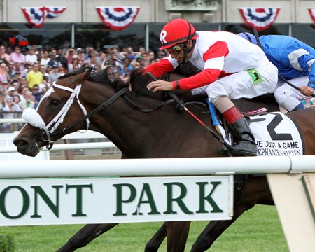 Stephanie's Kitten with John Velazquez up win the 20th Running of The Just A Game Stakes (GI) at Belmont Park.
