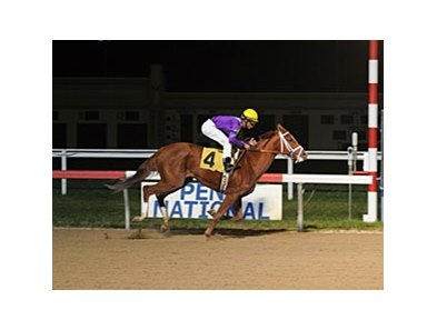Princess of Sylmar broke her maiden at Penn National by 19 lengths.