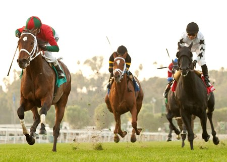 Jeranimo and Rafael Bejarano (left) win the Grade II $200,000 San Gabriel Stakes at Santa Anita Park.