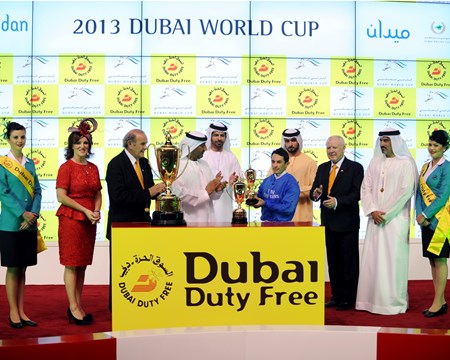 Connections of Sajjhaa at the Dubai Duty Free trophy presentation.