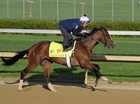 Normandy Invasion works at Churchill Downs on Sunday morning April 21 in preperation for the 2013 Kentucky Derby.