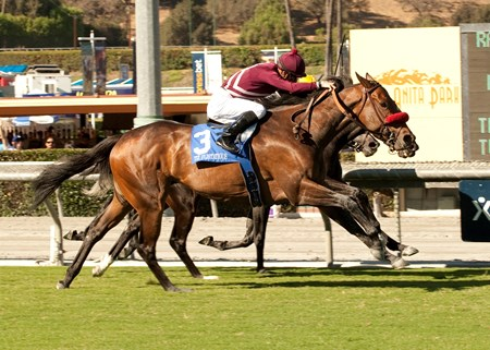 Tiz Flirtatious flew on the outside and caught pacesetter Vionnet and Marketing Mix nearing the finish line to win $250,000 Rodeo Drive Stakes (gr. IT) Sept. 28 at Santa Anita Park.