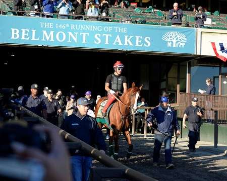 Caption: Alan Sherman walks California Chrome to the track through the tunnel.
