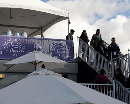 Caption:  hospitality tent for breeders, owners and trainers.
