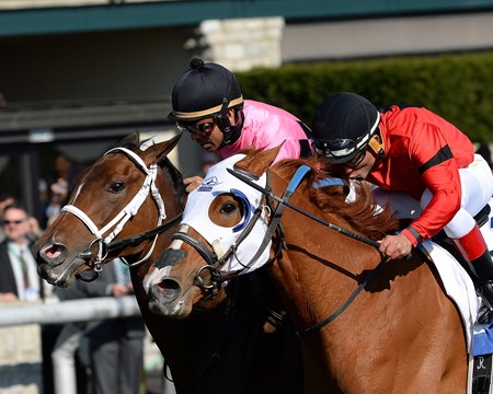 In one of the most thrilling editions of the Grade I Central Bank Ashland Stakes, Rosalind and Room Service hit the wire together for a dead-heat atop the 1 1/16-mile race for 3-year-old fillies at Keeneland.