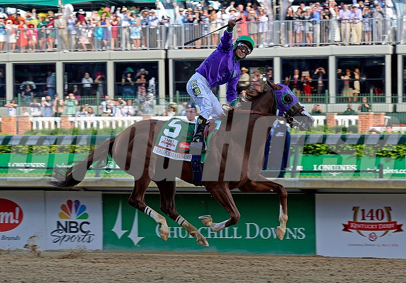 California Chrome, with Victor Espinoza, wins the Kentucky Derby.