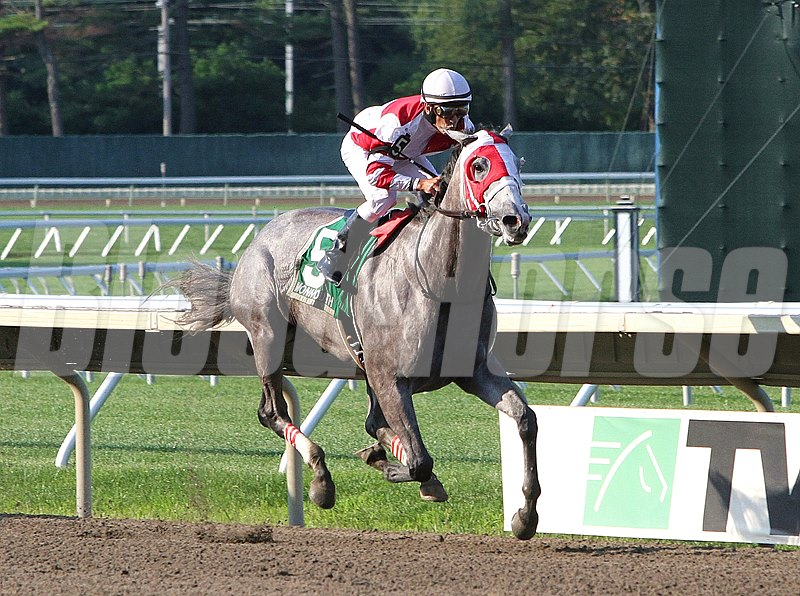 Cassatt #5 with Kerwin Clark riding, won the $100,000 Monmouoth Oaks at Monmouth Park in Oceanport, New Jersey on Saturday August 9, 2014. Photo By Ryan Denver/EQUI-PHOTO