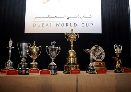 All 9 trophies for the races on Dubai World Cup day.