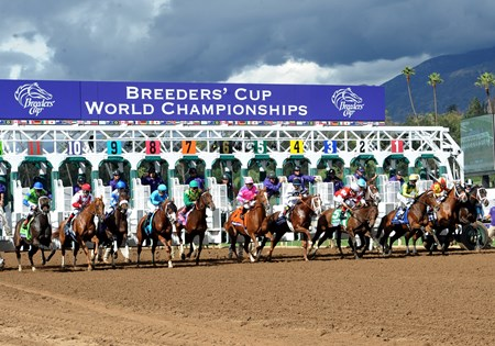 Take Charge Brandi breaks from the gate in the Breeders' Cup Juvenile Fillies (gr. I).
