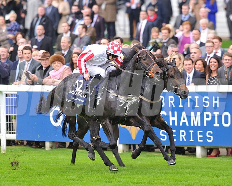 Slade Power and W.M. Lordan up ride to victory in the Sprint Stakes on British Champions Day at Ascot Racecourse.