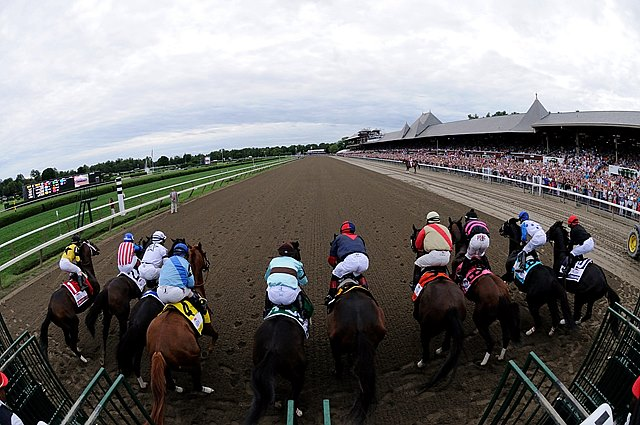 Start of the Grade I Travers Stakes at Saratoga Race Course in New York.
