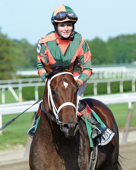 Mark Valeski wons the Peter Pan Stakes at Belmont, 2012