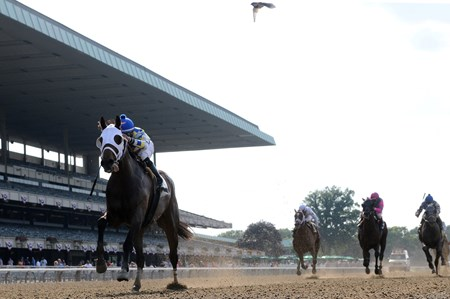 Moreno and jockey Jose Ortiz lead the way to win the Grade II Dwyer Stakes at Belmont Park.
