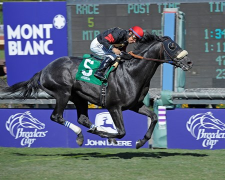 Caption:  Rookie Sensation with Victor Espinoza wins the Twilight Derby (gr. II)