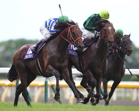 Just a Way, the world's top-rated racehorse, just edged former Japanese champion Grand Prix Boss after a furious battle in the final 100 meters to win Yasuda Kinen (Jpn-I) at Tokyo Racecourse.