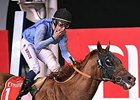 William Buick celebrates victory in the Dubai World Cup aboard Prince Bishop.
