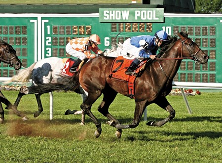 Summer Front #7 with Joe Bravo riding won the Grade III $100,000 Cliff Hanger Stakes at Monmouth Park.