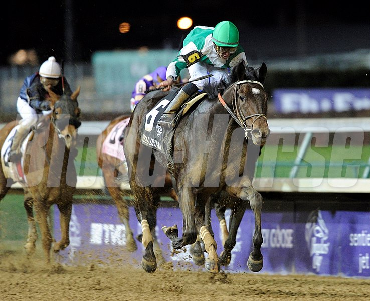Royal Delta, with jockey Jose Lezcano up, wins the Breeders' Cup Distaff.