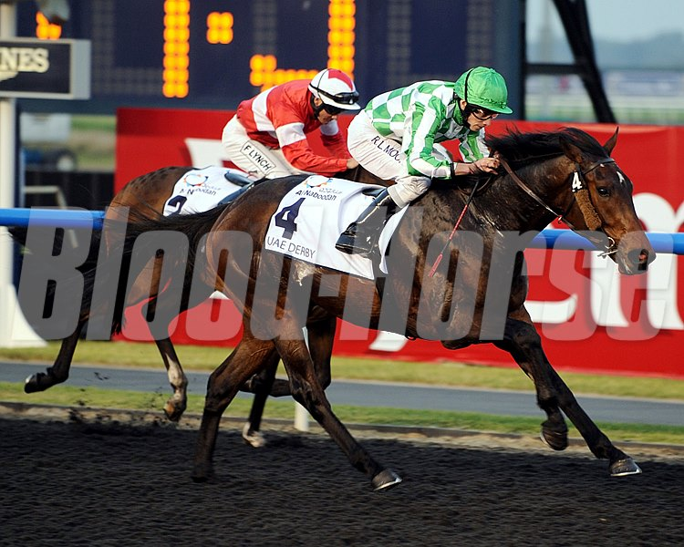 Lines of Battle winning the UAE Derby on Dubai World Cup day.