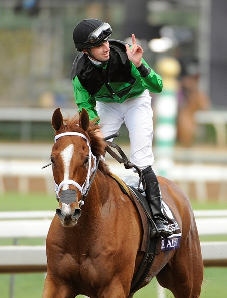 Work All Week and jockey Florent Geroux win the Breeders' Cup Sprint at Santa Anita Park on November 1, 2014. Photo By: Wally Skalij