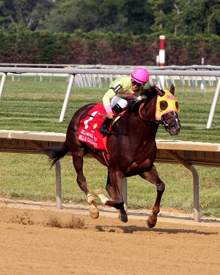 Belle Gallantey, a $35,000 claim just seven months ago, lulled her rivals to sleep on the front end and carried on to upset the $750,000 Grade I Delaware Handicap at Delaware Park. Four-time grade I winner and 1-5 favorite Princess of Sylmar finished second by 2 3/4 lengths.