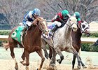 Mufajaah (left) won the Bayakoa Stakes by a neck on Feb. 18.