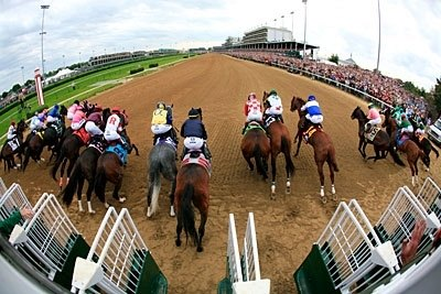 And they're off, before a record crowd at Churchill Downs.