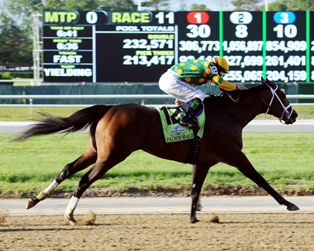 Palace Malice stretches out in the final strides of the Belmont Stakes.