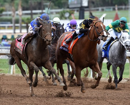 Judy the Beauty and jockey Mike Smith out dueled Better Lucky and jockey Javier Castellano to win the DraftKings Breeders' Cup Filly & Mare Sprint (gr. I).