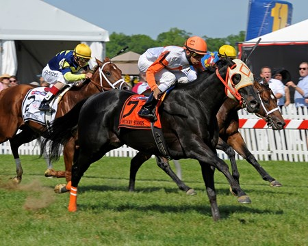 Ben's Cat with Julian Pimental wins the Jim McKay Turf Sprint at Pimlico on May 17, 2013.