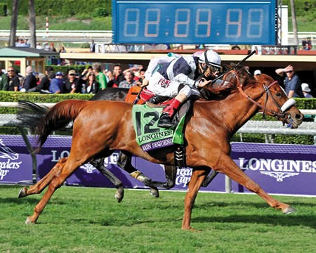 Main Sequence and jockey John Velazquez win the Breeders' Cup Turf at Santa Anita Park on November 1, 2014. Photo By: Chad B. Harmon