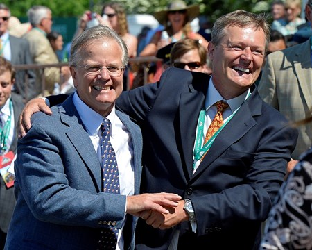 Caption: trainer Bill Mott, left, with Juddmonte rep Garrett O'Rourke celebrate going into the winner circle. Close Hatches with Joel Rosario wins the Ogden Phipps (gr. I). 