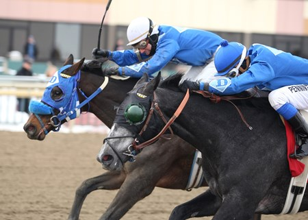 Elevated #1 (right) with Frankie Pennington riding won the $75,000 Christopher Elser Memorial Stakes at Parx Racing.