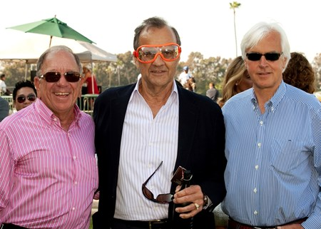 Co-owner Joe Torre, center, sports jockey Chantal Sutherland goggles with partner Bernie Schiappa, left, and trainer Bob Baffert, right, after Game On Dude's lengthy victory in the Grade II, $150,000 The Californian, Saturday, June 2, 2012 at Betfair Hollywood Park, Inglewood CA.