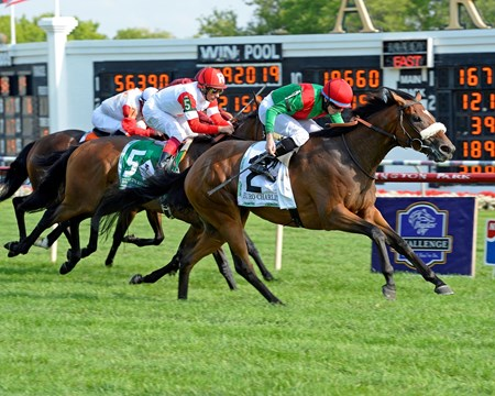 Euro Charline, a stakes winner at Ascot three weeks ago, soared through the stretch under a well-timed ride by Ryan Moore to upset the $750,000 Grade I Beverly D. Stakes in her U.S. debut at Arlington International Racecourse.