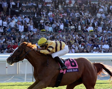 Wise Dan with Jose Lezcano up win the Breeders' Cup Mile at Santa Anita Park on November 2, 2013.