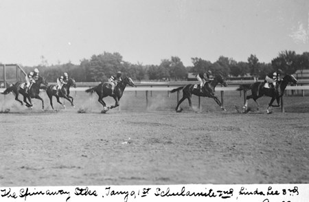 The Spinaway Stakes at Saratoga Race Course on August 3, 1904. (Tanya - 1st, Schulamite - 2nd, Linda Lee - 3rd)