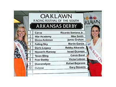 A field of 10 3-year-olds entered for the 77th running of the Arkansas Derby.