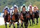Al Kazeem (2nd left) wins the Coral Eclipse Stakes from Declaration of War (green/white) at Sandown Park Racecourse.