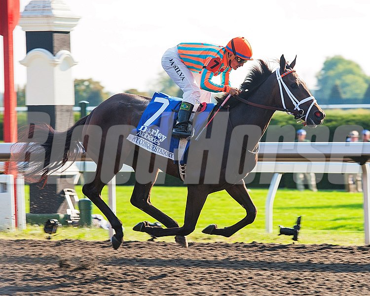 Caption:  My Conquestadory with Eurico Da Silva up wins the Darley Alcibiades Stakes (gr. I) at Keeneland. Owners Ernie Semersky and Dory Newell.
