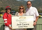 Trainer Jack Carava celebrates win number 1,000.
