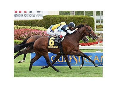 "War Correspondent closes strongly to win the Appleton Stakes.<br><a target=""blank"" href=""http://photos.bloodhorse.com/AtTheRaces-1/At-the-Races-2015/i-sp4jb7v"">Order This Photo</a>"
