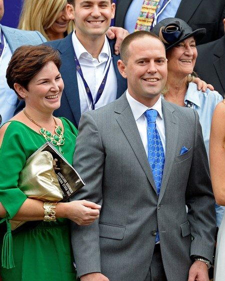 Trainer Chad Brown is all smiles after Lady Eli's victory in the Grade I Breeders' Cup Juvenile Fillies Turf.