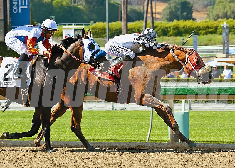 Clubhouse Ride and jockey Joseph Talamo, right, outleg Fury Kapcori (Corey Nakatani), left, to win the Grade II, $200,000 Californian Stakes, Saturday, May 31, 2014 at Santa Anita Park, Arcadia CA.