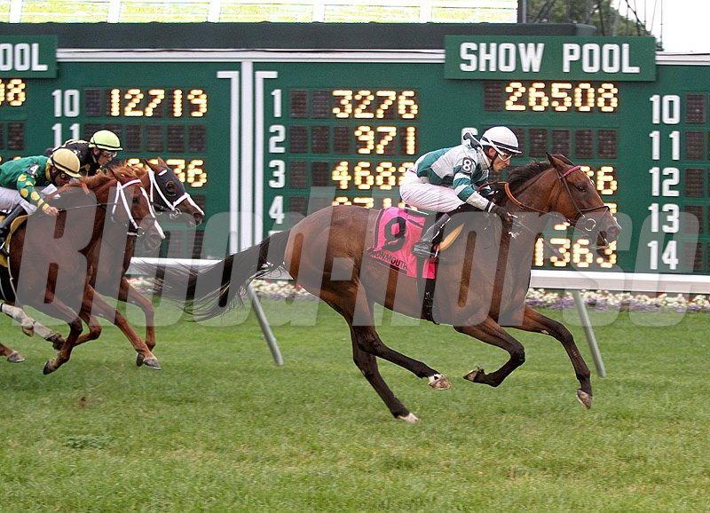 Zanim R. Meahjohn's 13-1 chance Rusty Slipper seized the lead nearing the sixteenth pole and comfortably earned her first graded stakes win in the $109,000 Grade III Violet Stakes at Monmouth Park.