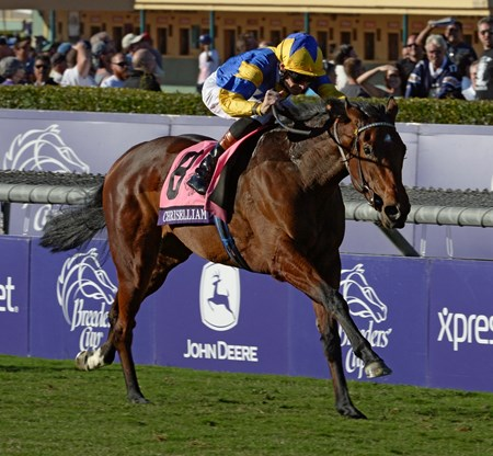 Chriselliam wins the Breeders' Cup Juvenile Fillies Turf (gr. 1)