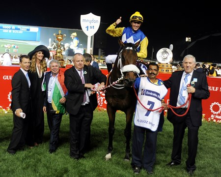 Shea Shea in the winner's circle after a victory in the Al Quoz Sprint.