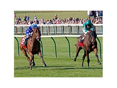 "Vorda (left) goes by Princess Noor to win the Connolly's Red Mills Cheveley Park Stakes.<br><a target=""blank"" href=""http://photos.bloodhorse.com/AtTheRaces-1/at-the-races-2013/27257665_QgCqdh#!i=2795848423&k=HpRMScz"">Order This Photo</a>"