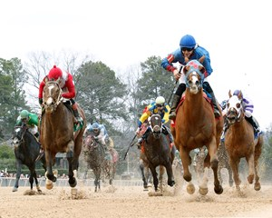 Valid Commander captures the NoDouble Breeders' Stakes at Oaklawn Park in Hot Springs, Arkansas.