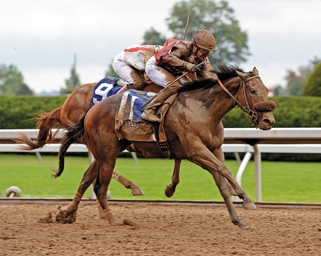 Qatar Racing's Peace and War notched her United States debut at Keeneland in impressive fashion, taking the $400,000 Grade I Darley Alcibiades with a determined closing run to punch her ticket to the Nov. 1 Breeders' Cup Juvenile Fillies.